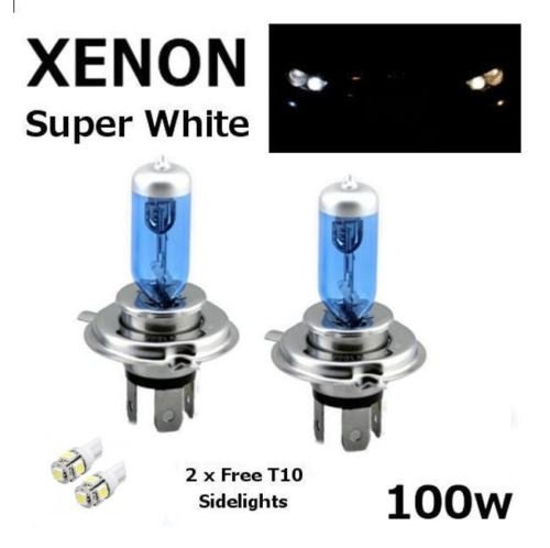 Set di 2 faretti per luci auto allo xeno H4, 24 V, 100 W, di colore bianco e 2 LED 501 per luci di posizione