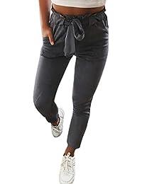 Minetom Femme Pantalons Été Casual Slim Chic Mode Crayon Taille Haute  Legging Pants Trousers Longue Elastique 626d67552a0