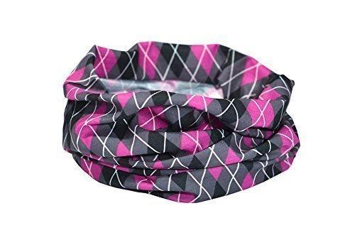 Argyle-Muster pink/schwarz/grau - RUFFNEK Multifunktionale Kopfbedeckung Kragen für Männer & Frauen, golf, Radsport, ausgeführt; Stirnband, Halswärmer / Halstuch, Schal - Einheitsgröße (Argyle-kragen)