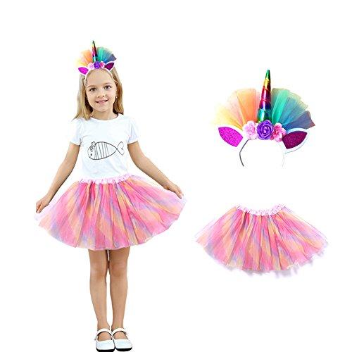Homelix My Little Pony Mädchen Prinzessin Party Rainbow Einhorn Blume Stirnband Tutu Rock Kostüm Kit (Rosa) (Halloween My Little Pony Kostüm)