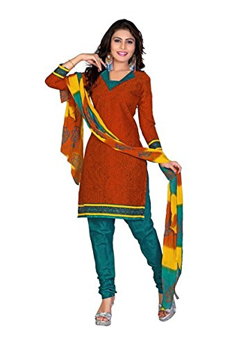 Vibes Womens Cotton Patch Work Straight Dress Material (V299-1015 _Red _Free Size)