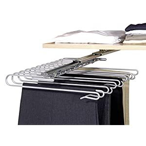 WENKO Ausziehbarer Hosenbügel, Halter für 12 Hosen, zur Befestigung im Kleiderschrank, verchromtes Metall, 33 x 10 x 47…
