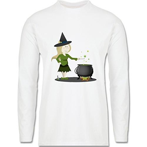 Halloween - kleine Hexe - Longsleeve / langärmeliges T-Shirt für Herren Weiß