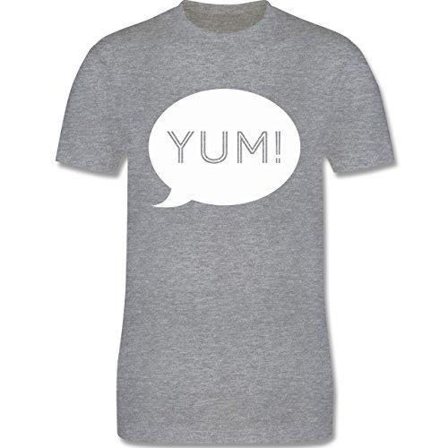 Küche - Yum Sprechblase - Herren Premium T-Shirt Grau Meliert