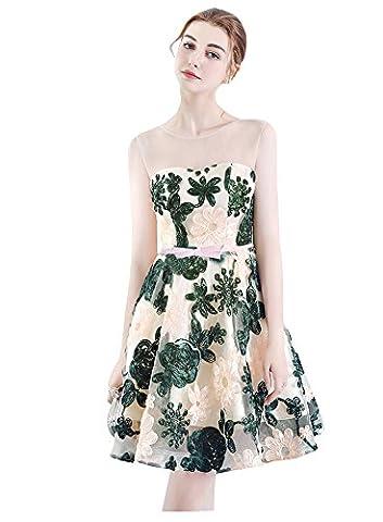 Beauty-Emily Evening Dresses Short Sleeveless Organza A Line Dark Green Sweetheart Dresses
