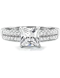 Sterling Silver CZ Rings for Women – 6mm Princess Cut Cubic Zirconia 925 Sterling Silver Ring