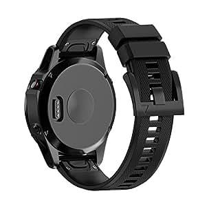 Cinturino di ricambio Kuxiu in silicone con connettori interni a sgancio rapido per Garmin Fenix 5/smartwatch Forerunner 935GPS, Black