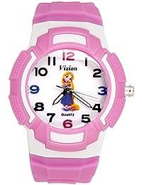 Vizion Analog Multi-Color Dial ( Princess- Magic Hair Rapunzel) Cartoon Character Pink Watch for Girls- 8565AQ-4-3