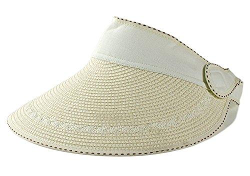 Baseball-hüte Deckel (weimay Hut Sommer-Der Damen der Frauen Anti-UV-Hut Strand Hut der Strand der Stroh des Visier Rand des Rand (beige))