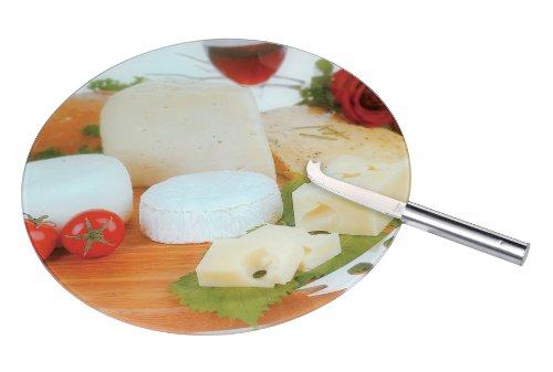 Zeller 26252 Käseplatte mit Käsemesser, GlasEdelstahl  Ø32x0,4
