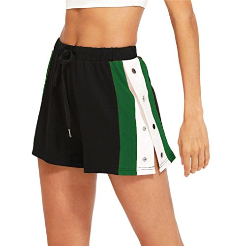 Vectry Damen Hosen Shorts Sommer Hotpants Bermudas Ultra Jeans Leggings Strand Laufgymnastik Yoga Der Sporthosen Schlafanzughosen - Gestreifte Mid Waist Loose Drawstring Waist Ringer (S, T-Grün)
