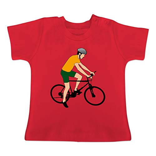 Sport Baby - Fahrradfahrer Citybike Radfahrer - 1/3 Monate - Rot - BZ02 - Baby T-Shirt Kurzarm