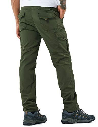 YAWHO Herren Wanderhose Outdoorhose Trekkinghose Softshellhose Funktionshose mit Gürtel/Schnell Trockend Wasserdicht Winddicht (Green, XL)