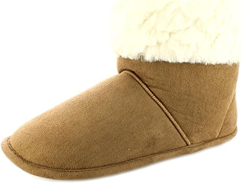 NUEVO mujer crema Botín Zapatillas con imitación piel forro CAMEL / Crema - GB Tallas 3-9