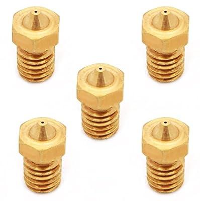 Anycubic 5pcs 0,3mm Full Metal Nozzle 3D-Drucker Extruder Druckkopf M6 Außengewinde für J-Kopf 1,75mm Glühfaden