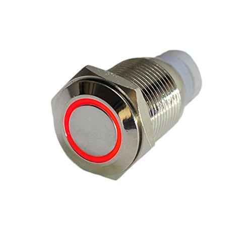 Preisvergleich Produktbild HOTSYSTEM 16mm 12V Metall Reset Taster LED Beleuchtet Drucktaster Druckknopf für Auto KFZ Rot