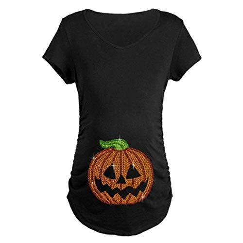 Kostüm Halloween Mutterschaft - Lomelomme Umstandskleidung Frauen Kurzarm Mutterschaft Tops Halloween Bluse Kürbis Gesicht Gedruckt Oberteile Schwangere Frau Halloween Kostüm T-Shirts
