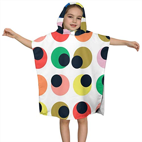 BigHappyShop Baby's Cute Hooded Bath Beach Towel Circles Blobs Spots Dots Abstract Bright Color Pop Ultra Soft Quick Drying Super Soft Single Ply 100% Organic Cotton