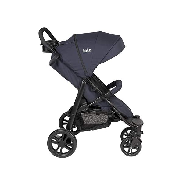 Joie Litetrax 4 Pushchair Navy Blazer  Bumper bar, raincover, shopping basket and parent tray with cupholders UPF 50+ sun canopy and oversized expandable hood SoftTouch 5-point safety harness adjusts to 3 heights 4-position recline and 2-position leg rest One-hand instant fold with automatic lock 5