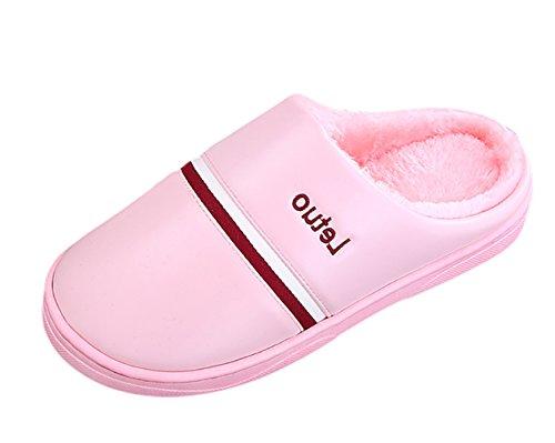 SK Studio Unisexe Peluche Chaussons Chaud Pantoufles Antidérapants Slippers Hiver Chaussures de Maison Rose