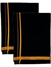 """SRT 74"""" PENTEX DHOTHIES Men's Cotton Dhoti (Black, 1.90 m) - Combo of 2"""