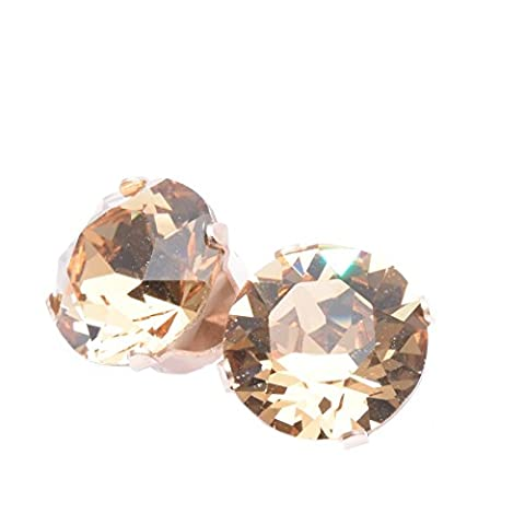 pewterhooter 9mm Rose Gold stud earrings expertly made with Light Colorado Topaz crystal from