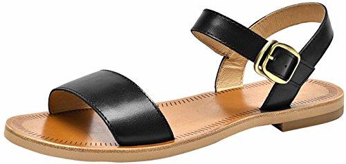 SimpleC Damen 1,6 cm Niedrigen Absatz Kuhfell Einlegesohle Sommer Sandalen Leder Schnalle Schließung Flache Schuhe Schwarz36 (Kalb-leder Gladiator Sandalen)