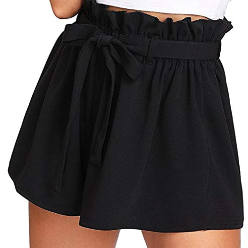 Kurzehose Damen,Sonnena Sommer Mode Frauen Hohe Taille Boho Print Shorts Mini Hosen Damen Elegant Lose Tunnelzug Crepe Hotpants Lässig Reizvoller Kurze Hose Sommerhose (M, Sexy Schwarz) -