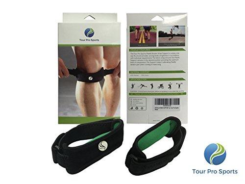 Tour Pro Sport Medical Grade Patella Knee Strap supporto (2pezzi), guide e maglioni ginocchio e sindrome Schlatter-Eva pad, unisex, taglia unica, colore: nero