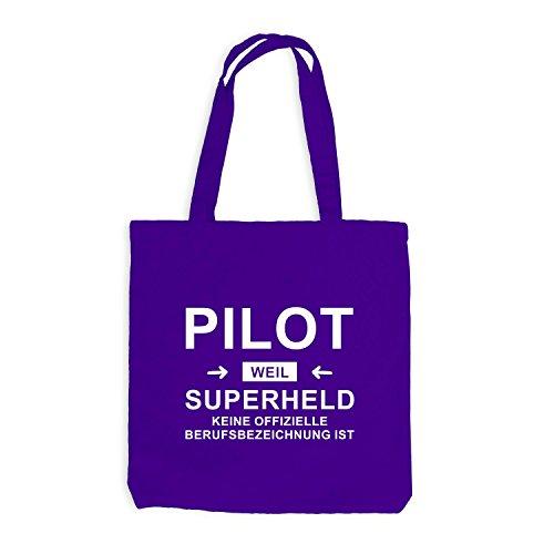 Jutebeutel - Pilot Superheld - Hero Beruf Violett
