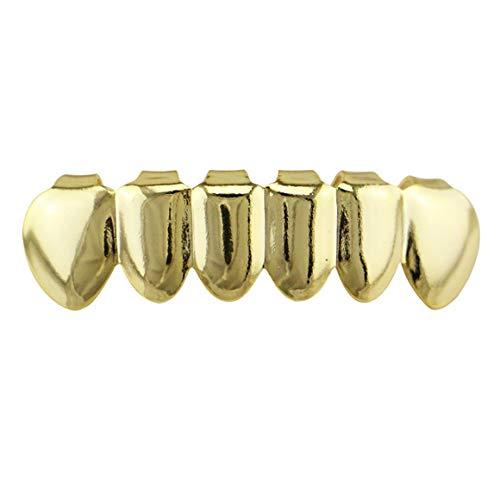 Funnyrunstore 6 Beschichtung Glänzende Grillz-Zähne Galvanisieren Kupfer-Hip-Hop-Zähne Oben & Unten Zähne Zähne Grill Für Weihnachten Halloween (Gold; unten)