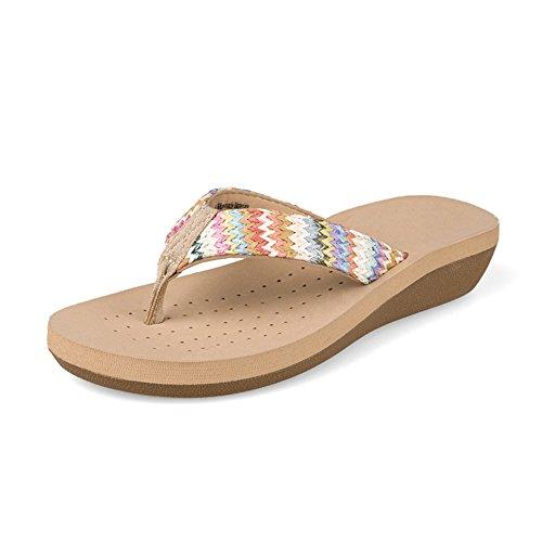 ZHIRONG Casual femme sandales été usure extérieure sandales plage chaussures compensées anti-dérapant