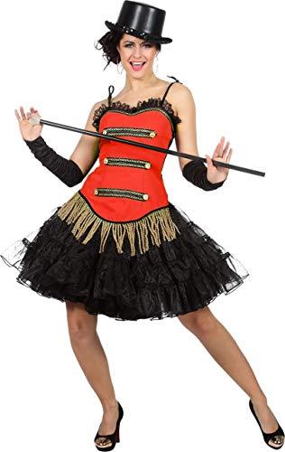 Wilbers Showkostüm Show Zirkus Tanz Korsett Kostüm Damen Rot Fransen Karneval Fasching Rot 40 (Karneval Tanz Kostüm)
