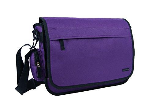 Da uomo donna Union Jack/Floreale/Tinta unita A Tracolla Messenger spedizione borsa scuola lavoro borsa a tracolla viola Plain Purple Plain Purple