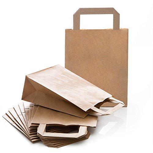 10 kleine braune Kraftpapier natur Papiertaschen 18 x 8 x 22 cm Geschenktüten Boden Henkel Papiertüten Papierbeutel Verpackung Mitgebsel Gastgeschenke Produkte give-away Kundentüten Tüten Papier