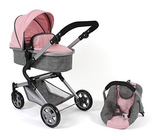 Bayer Chic 2000 597 15 Kombi-Puppenwagen Lia, Melange rosa