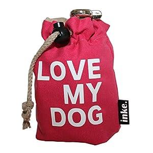 inke. Leckerlibeutel für Hundesnacks – Handgefertigter Futterbeutel aus Norddeutschland, Pink LoveMyDog Weiß