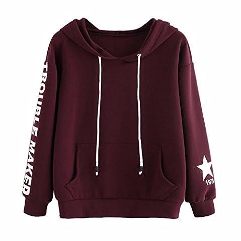 Damen Kapuzenpullover Sonnena Hoodie Sweatshirt Winter Brief gedruckt Mantel Pullover Oberteile Tops mit Pocket (Asian M, Wein)