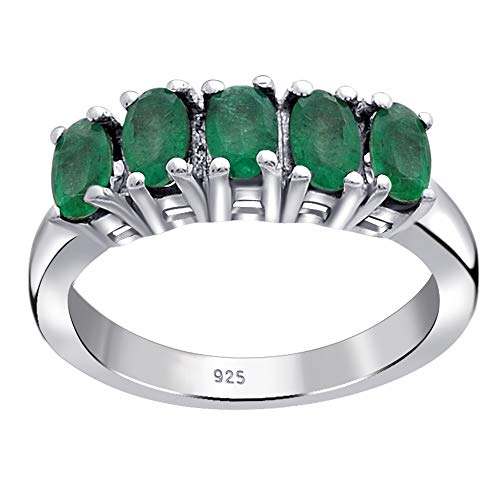 Orchid Jewelry Unisex Damen - Sterling-Silber 925 Sterling-Silber 925 Oval Green Smaragd