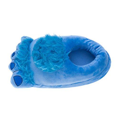 YOUJIA Unisex Hiver Chaudes Indoor Chaussure Rigolos Pantoufle Gros Pieds Chaussons animaux en Peluche pour Adultes - Taille: 34-43 Bleu