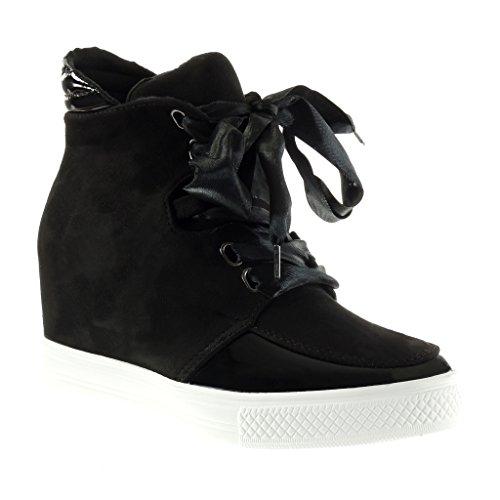 Sneakers nere con stringhe con tacco a zeppa per donna Angkorly Venta Escoger Un Mejor Excelente Línea Barata Aclaramiento De Bajo Costo pgSmEvko