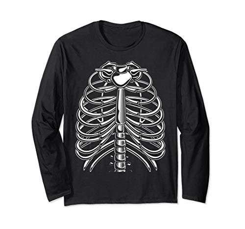 Skelett Brustkorb Kostüm - Halloween Skelett Brustkorb Kostüm Langarmshirt