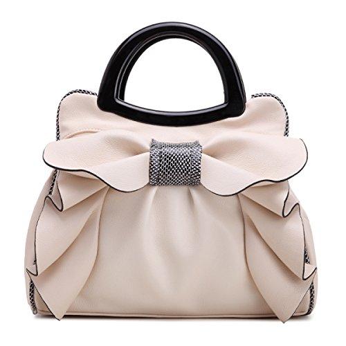 QPALZM QPALZM 2017 Frau Bowknot-Handtasche Süße Dame Bag Fashion Schultertasche Frauen Messenger Bag Beige