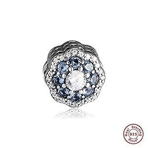Funshop 2019 Charm-Perle mit blauem Blumendesign, 925 Silber, DIY passend für Original Pandora-Armbänder, Modeschmuck