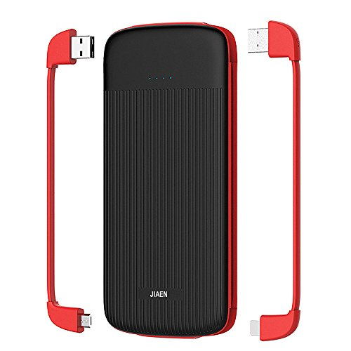 e-jiaen 10.000mAh ultra-compact externo cargador de batería, cargador de viaje de alta velocidad con integrado Lightning y Micro USB Cables tipo C portátil Banco de energía para iPhone, Galaxy, Nintendo