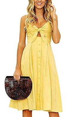 Yidarton Women Summer Backless Dresses Sexy Off Shoulder Sleeveless Dress Beach Midi Dress