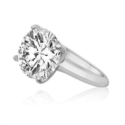 Velini, Solitaire anello di fidanzamento R5174, in argento Sterling 925, qualità AAA zirconia cubica, brilla come un diamante, 10mm, 4punte, argento, 52 (16.6), cod. R5174-52