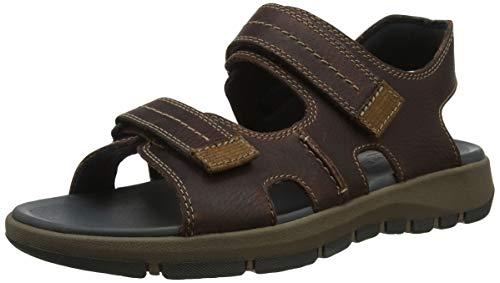Clarks brixby shore, sandali con cinturino alla caviglia uomo, marrone (dark brown leather-), 47 eu