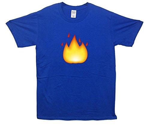 Fire Emoji T-Shirt Blau