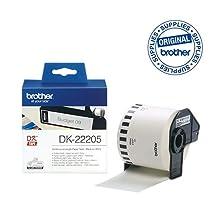 Brother DK22205 Etichette a Lunghezza Continua, Carta Adesiva, 62 mm x 30.48 m, Bianco